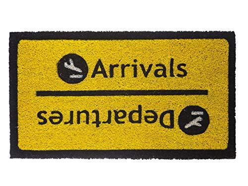 Fisura DM0091 Felpudo Original y Divertido Entrada Casa Rectangular 'Arrivals Departures' 70 X 40cm, Antideslizante, PVC, Coco