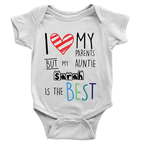 Tee Monkey Personalised Auntie is The Best Babygrow 0-3m White Cool Hearts Gift...