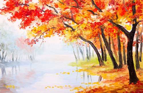 Coloc fotobehang, 150 x 220 cm, digitale druk, olieverfschilderij, achtergrond, herfst, bedrukt, D-9563