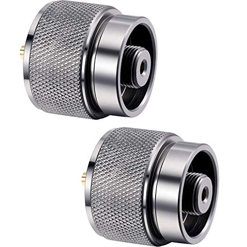 Hotop 2 Pieces Camping Stove Adapter 1 Lb Propane Small Tank Input EN417 Lindal Valve Output Outdoor Cylinder LPG Canister Adapter (Silvery)