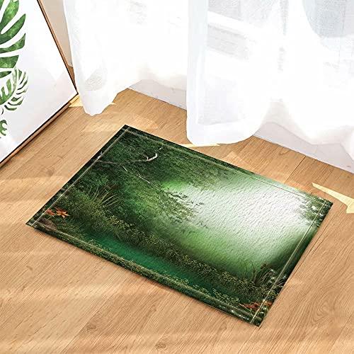 Planta decoración Bosque Verde Prado Alfombra de Puerta Antideslizante Alfombra de Puerta de Inodoro Alfombra de baño para niños 40x60cm Accesorios de baño