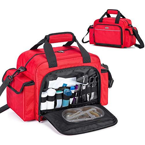 Trunab Home Health Nurse Bag Empty Portable Medical Supplies Shoulder Bag for Hospice Home Visit Nursing Students Red Bag Only
