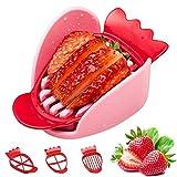 Yestter - Fresa cortadora de frutas, cortadora de frutas, 3 cuchillos, tipo cocina, herramienta de tallo para decapante, fresa, cortador, bricolaje, plato de frutas, herramienta roja