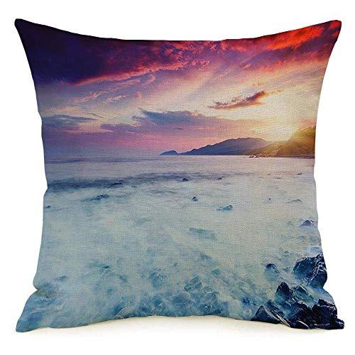 N\A Lino Decorativo Cuadrado Throw Pillow Cover Case Holiday Majestic Summer Sunset Over Seascape Dramático Rock Parques Naturales Coastline Outdoor Sunrise Funda de Almohada Cojín Sham for Couch