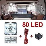 80 LEDs led light bar Van Interior Light Kits, LED Ceiling Lights Kit for Van RV Boats Caravans Trailers Lorries Sprinter Ducato Transit (20 Modules, White)