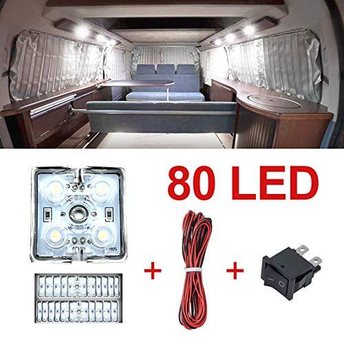 Ruesious Luces Interiores del Coche 12V LED Luces de Tira del Vehículo Domo Iluminación del Techo 80 LED