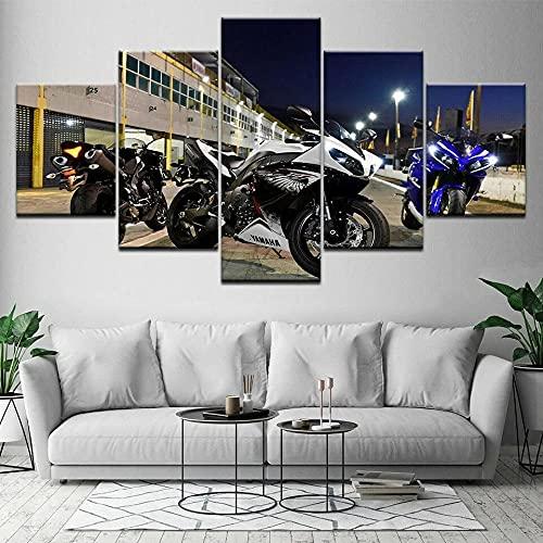 QQWERCuadro sobre Lienzo-5 Piezas - Murales Impresión En Lienzo-Lienzo Decoracion-Cuadro En Lienzo-Listo para Colgar Póster Deportes De La Motocicleta De La Bici