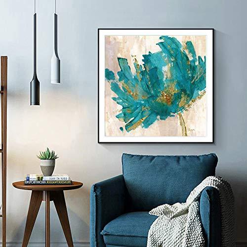 YHZSML Leinwand Malerei Aquarell Öl Poster und Drucke Blaue Blume Wandbilder für Wohnzimmer Bilder Wohnkultur Ungerahmt A 50X50 cm