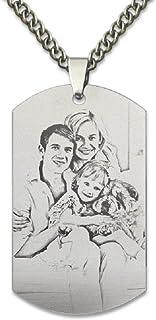 Blue98 Collar de Foto Personalizado con Colgante de Cadena de Acero de Titanio con Regalo Personalizado para Hombres/Mujer...
