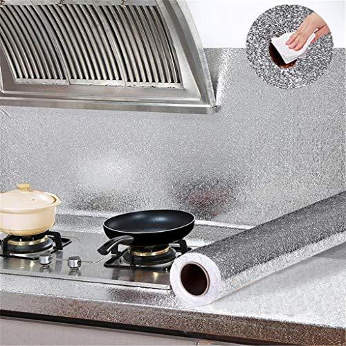 60x100cm Aufkleber Küchen Küchenfolie Selbstklebende Hitzebestandige Spritzschutz Aluminium Folie DIY Möbel Wasserdicht Tapete Anti-Schimmel Öl Resistent für Schrank, Möbel, Tische