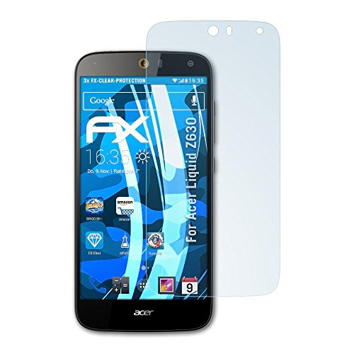 atFolix Schutzfolie kompatibel mit Acer Liquid Z630 Folie, ultraklare FX Bildschirmschutzfolie (3X)