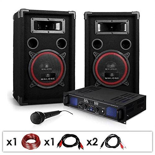 DJ-14 Equipo de Sonido Profesional PA 500W (Amplificador Potencia 500W, 2...