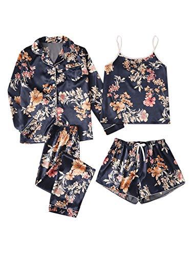 DIDK Damen Schlafanzug 4pcs Pyjama Set Lang Hosensets, Short Sets 4 Stücke Satin Nachhemd Geblümt Hausanzug Loungewear Marineblau M
