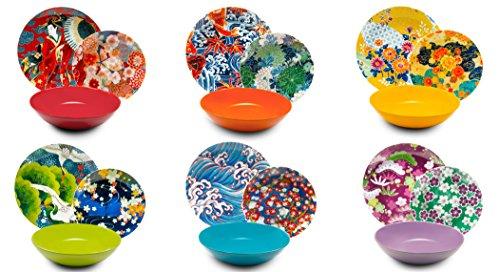 Excelsa Kimono Servizio di Piatti 18 Pezzi, Porcellana e Ceramica, Multicolore