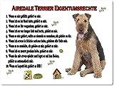 Merchandise for Fans Blechschild/Warnschild/Türschild - Aluminium - 15x20cm Eigentumsrechte Motiv: Airedale Terrier (01)