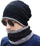 VT VIRTUE TRADERS Men's and Women's Ultra Soft Woollen Warm, Snow Proof 20 Degree Temperature Beanie Cap Plus Muffler Scarf Set (Black, Free Size)