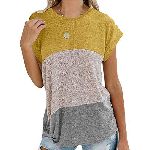 ELECTRI Chemisier Femmes Grande Taille Printemps Top Femme Chemisier Grande Taille Coton et Lin Haut Manches Courtes Couleur Unie Chemisier Col Debout Pull Shirt en Vrac Décontractée T-Shirt