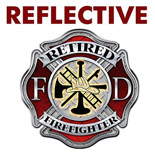AZ House of Graphics Reflective Retired Firefighter Diamond Plate Maltese Cross Sticker - #FS2029-REF