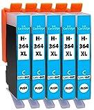 Supply Guy 5 Cartuchos de Tinta compatibles con HP 364 XL HP364 CB323EE (Cian)