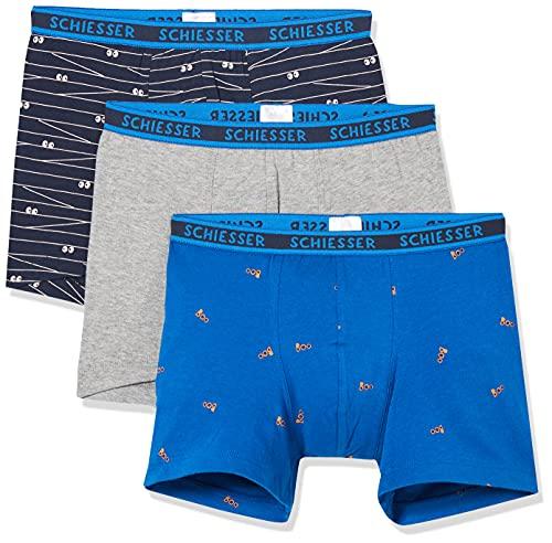 Schiesser Jungen Organic Cotton (3er Pack) Boxershorts, Mehrfarbig 11, 140