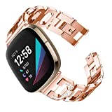 YOFUNTLE Compatible for Ftibit Versa 3/Fitbit Sense Bands,Women Dressy Metal Bracelet Jewelry Band Replacement Accessories Wristband Strap for Ftibit Versa 3/Fitbit Sense (Dark Rose Gold)