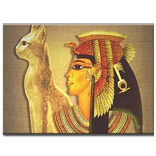 LMMLYR DIY 5D Diamante Pintura por Número Kit Mujer egipcia Cuadro de Bordado de Diamantes Rhinestone Mosaico 5D Taladro completo bordado de diamantes de imitación 16x20