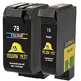 Yellow Yeti Ersatz für HP 15 78 Druckerpatronen Schwarz/Farbe kompatibel für HP Deskjet 3810 3820 815c 916c 920c 940c 948c Officejet 5105 5110 V30 V40 V45 PSC 2120 700 720 750 900 950 Copier 310