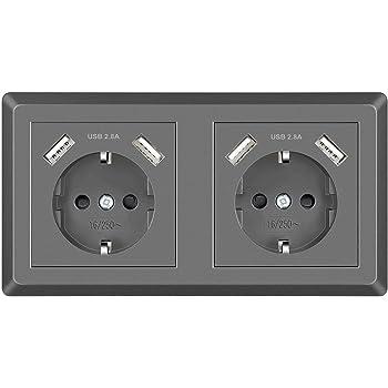 Doble Enchufe de pared con USB Tomas de Corriente Superficie Schuko Enchufe Gris Empotrado para Cocina, Dormitorio, Oficina, Hotel, etc: Amazon.es: Bricolaje y herramientas