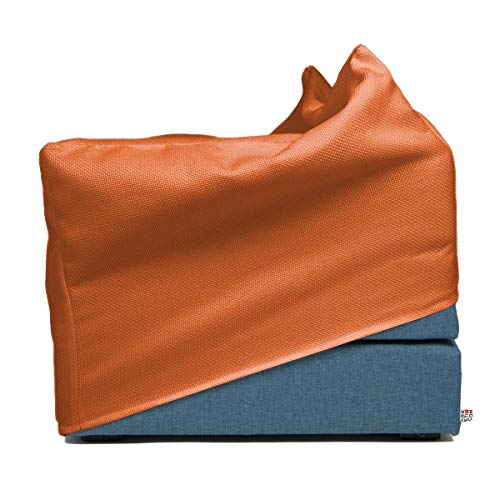 Arketicom Italian Faltmatratze TOUF, The Bed That Becomes a Puff, Blue Jeans Fabric Base and External Cover Orange 80x63x45 cm Artisans Italian Product 100% Hand Made