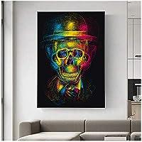 大きいサイズ抽象的なカラフルな頭蓋骨紳士の肖像画キャンバス絵画ポスター壁アートプリントリビングルームの装飾のためのファンタジー写真30x40cm(12x16in)