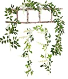 Mistari 2 Pack Artificial Flowers Simulation Leaves Silk Wisteria Ivy Garland Vine Green Leaf Hanging Vine Garland for Garden Wedding Outside Birthdays Prom Party Decorations (White)
