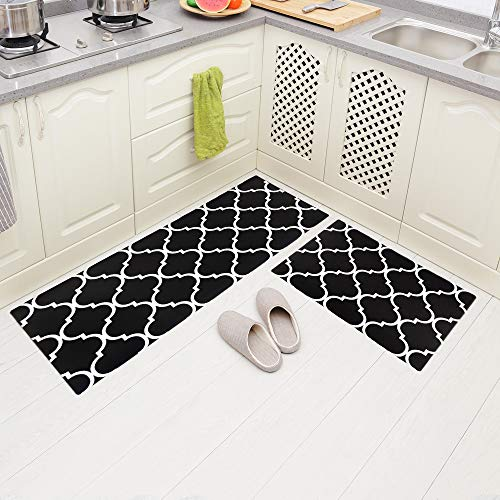 Carvapet 2 Pieces Comfort Anti-Fatigue Kitchen Standing Desk Mat Waterproof Decorative Ergonomic Floor Pad Kitchen Rug, Moroccan Trellis Black 18'x47'+18'x30'