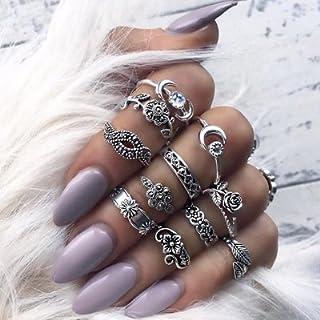11 Pz Anelli retrò di modo,Fingerring set per le ragazze delle donne,Fascia della barretta del chiodo dell'anello di midi ...