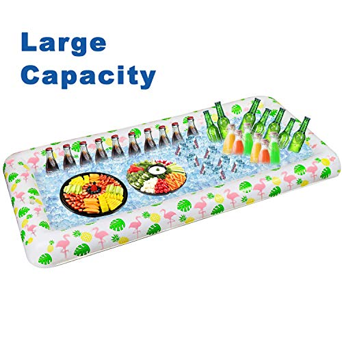 Tifeson Luau Inflatable Serving Bar with Drain Plug-Aloha Tropical Style Inflatable Cooler Ice Buffet Salad Serving Trays Food Drink Holder Containers for Outdoor BBQ, Graduation Party, Beach Party
