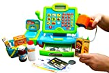 Think Gizmos Calculator Cash Register Toy – Pretend Play Toys Shopping Cash Register Set with Scales, Scanner, Money, Food, Shopping Basket and Scannable Barcode Stickers for Extra Fun