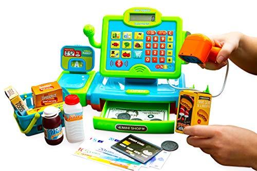 Think Gizmos Registratore di Cassa Interattivo per Bambini – Registratore di Cassa Giocattolo con Soldi Finti - Scanner - Alimenti e Carrello Spesa Giocattolo a Cestino – TG802