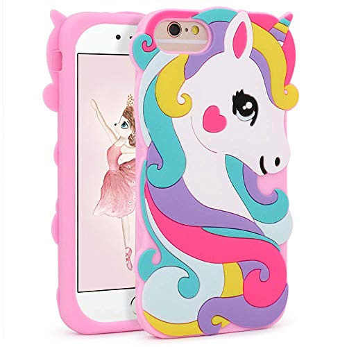 """Vivid Unicorn Case for iPhone 8 7 6 6S 4.7"""",3D Cartoon Animal Cute Soft Silicone Rubber Character Pink Cover,Animated Stylish Fashion Cool Protective Skin Shell for Kids Child Teens Girls (i876 4.7"""")"""