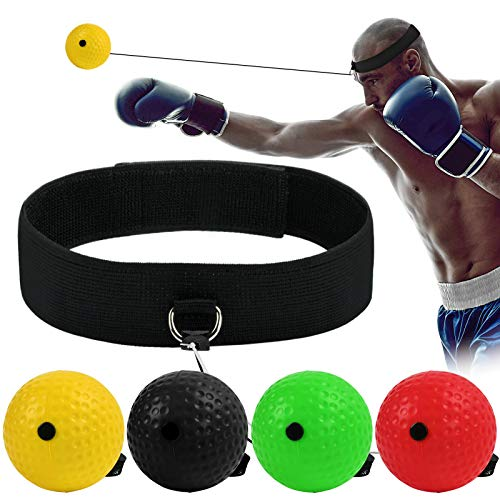 KATELUO Reflex de Boxeo, Pelota Entrenamiento de Reflejos Boxeo, Bola de Cabeza de Boxeo, Adecuado para Adultos y niños, el Mejor Equipo de Boxeo para coordinación Ojo-Mano y Fitness