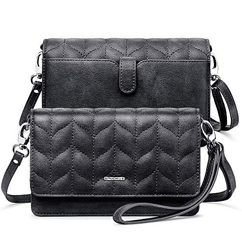 nuoku Women Small Crossbody Bag Cellphone Purse Wallet with RFID Card Slots 2 Strap Wristlet(M Size Black)