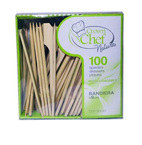 CROWN 5 Confezioni da 100 SPIEDINI 9 cm Bandiera Bamboo biodegradabili sterilizzati stuzzicadenti spiedo panini Hamburger