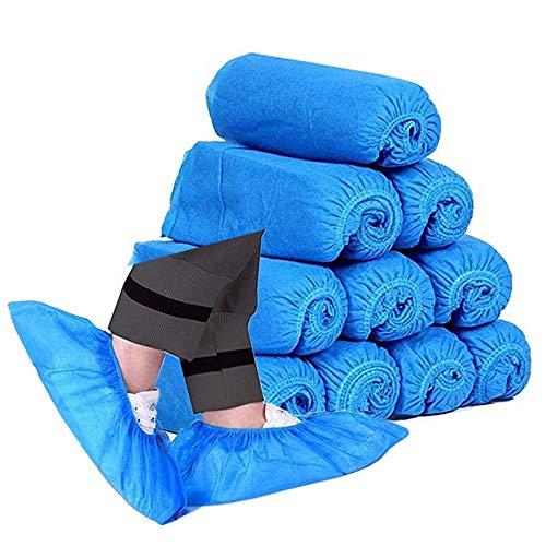 bretoes Schuhüberzieher Einweg 100er Pack (50 Paar) Rutschfest Langlebig Vliesstoff Indoor Hygiene Überschuhe & Stiefelüberzüge für Bau, Arbeitsplatz, Teppich Bodenschutz, Blau (blau), 43 EU