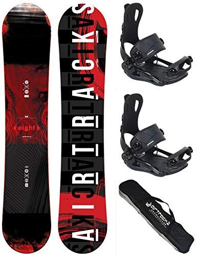 AIRTRACKS Snowboard Set - Tabla Eight Wide 150 - Fijaciones Master M - SB Bag