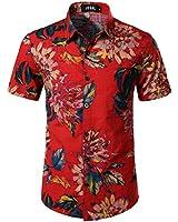 JOGAL Men's Flower Casual Button Down Short Sleeve Hawaiian Shirt XX-Large Red