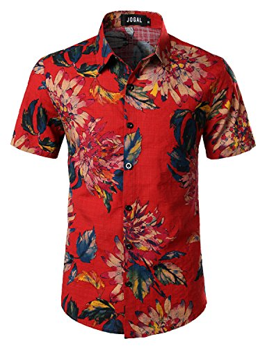 JOGAL Men's Flower Casual Button Down Short Sleeve Hawaiian Shirt Large Red
