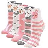 LOFIR Kinder Socken Mädchen Bunte Strümpfe aus Baumwolle Kleinkind Karikatur Niedliche Tier Socken Geschenk für Kinder Mädchen 5-7 Jahren, Größe 24-29, 5 Paare