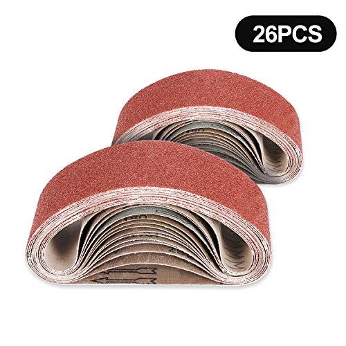 Jellas 26Pcs Bandas de Lijado de Oxido de Aluminio, 95 x 533 mm 40/60/80/120/180/240 Lijado de Tela Grano Grueso/Fino para Lijadora de Banda