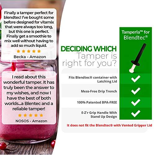 Tamper Fits Blendtec LATCHING Lid Version [ NO MORE AIR POCKETS ] Fits 'Latching' Lid Blendtec Blenders only