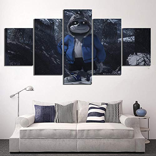 WUXI Leinwanddrucke Leinwand Malerei Wandkunst Druck Poster 5 Set Sans Undertale Videospiel Modulares Bild für Wohnzimmer Home Decoration Frameworks Drucke auf Leinwand