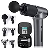 Mini Massage Gun Deep Tissue Massager for Athletes, Nekteck Handheld Percussion Muscle Fascial Gun with 5 Adjustable Speed and 6 Accessories Head, Ideas Gift for Man/Woman/Mom/Dad/Friends