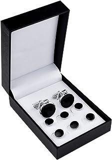 ست گل میخ و دکمه سرآستین نقره ای مشکی ، دکمه سر دست مردانه و ست دکمه سرآستین ست دکمه های دکمه ای از جنس استنلس استیل دکمه های تاکس با جعبه برای پیراهن های تاکسیدو هدیه کسب و کار عروسی